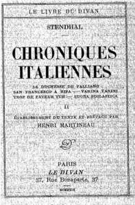 Les Chroniques Italiennes, Le Divan, 1929